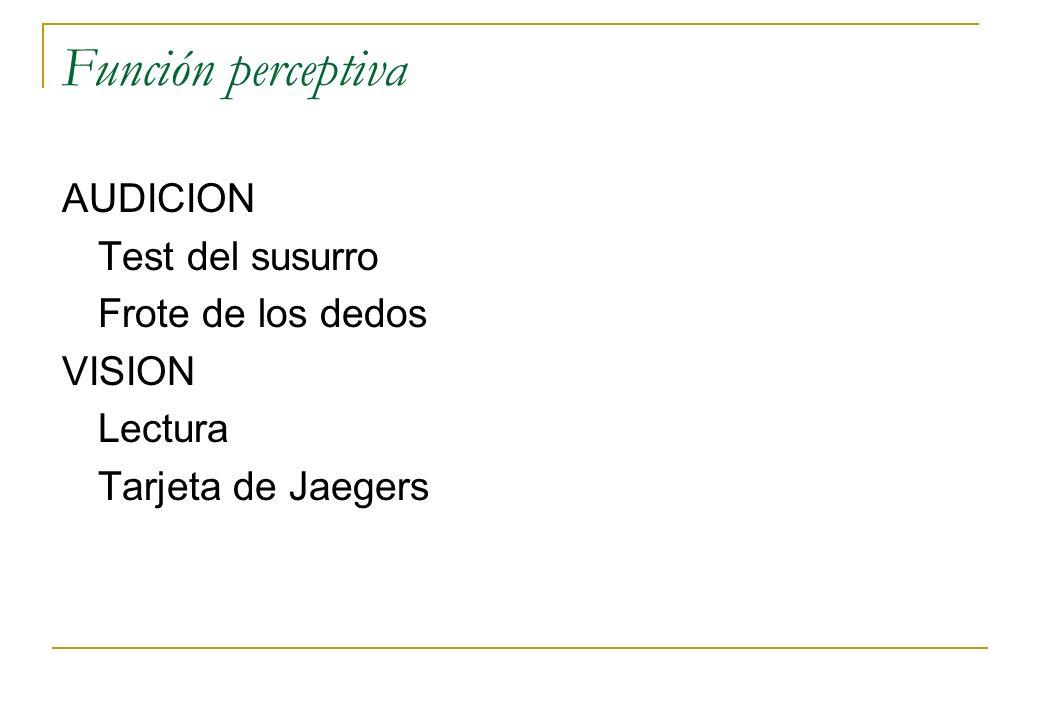 Función perceptiva AUDICION Test del susurro Frote de los dedos VISION Lectura Tarjeta de Jaegers