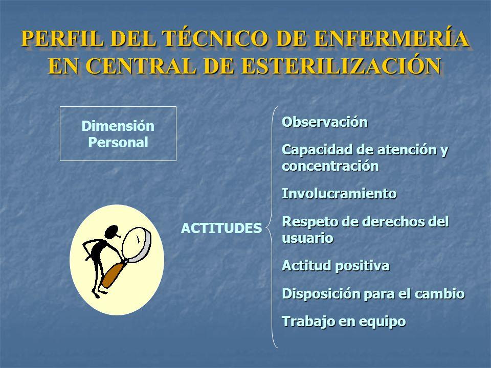 VERACIDADLEALTADRESPETOHONRADEZ ALTO GRADO DE RESPONSABILIDAD EQUIDADMORALIDAD Dimensión Personal VALORES PERFIL DEL TÉCNICO DE ENFERMERÍA EN CENTRAL