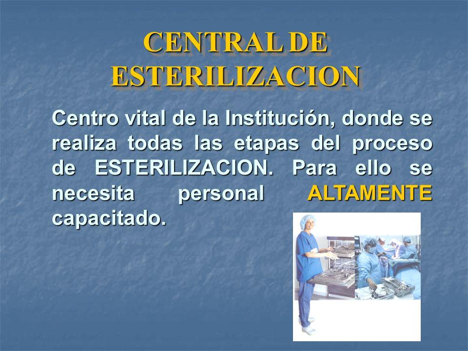 CENTRAL DE ESTERILIZACION Centro vital de la Institución, donde se realiza todas las etapas del proceso de ESTERILIZACION.