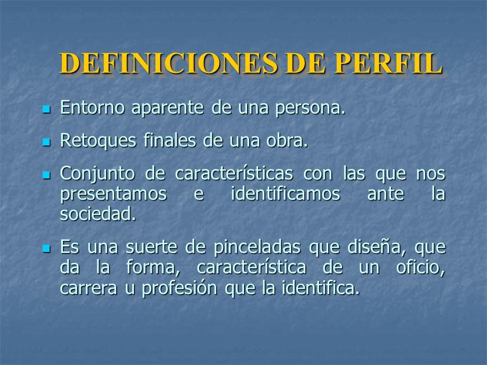 DEFINICIONES DE PERFIL Entorno aparente de una persona.
