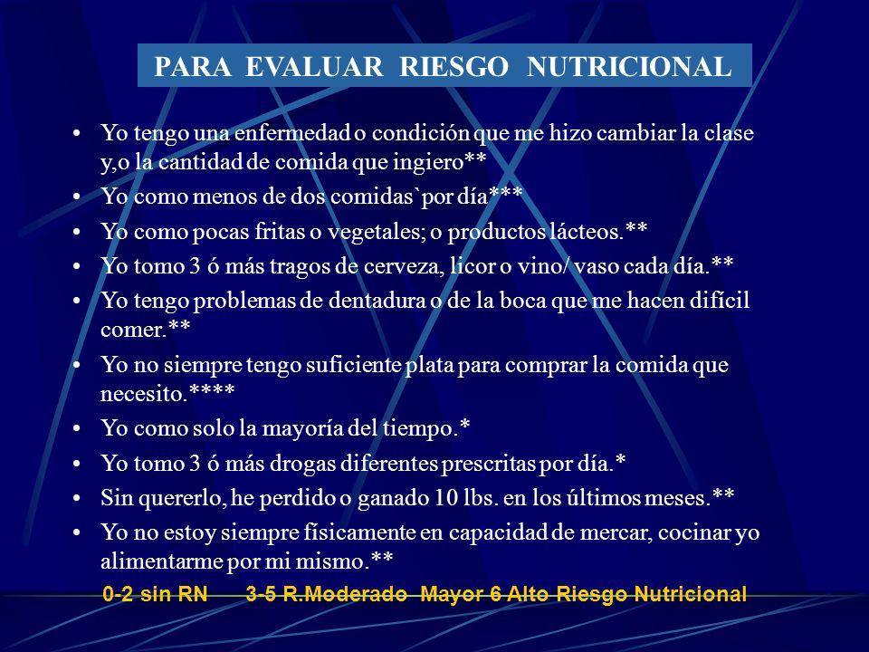 Objetivo del Tamizaje y Valoracion Nutricional 1. Identificar a los pacientes en riesgo para reducir: - Problemas fisiológicos - Complicaciones médica