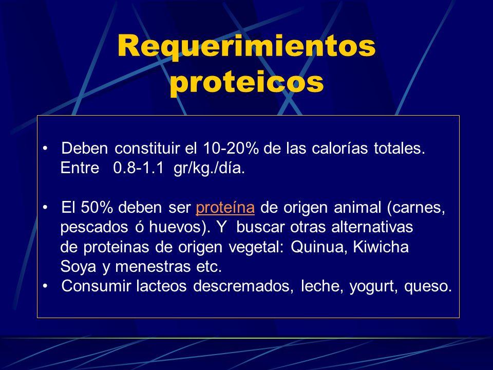 Requerimientos de hidratos de carbono El 50-55 % de las calorías son hidratos de carbono. El anciano tiende a consumir Hidratos de CarbonoHidratos de