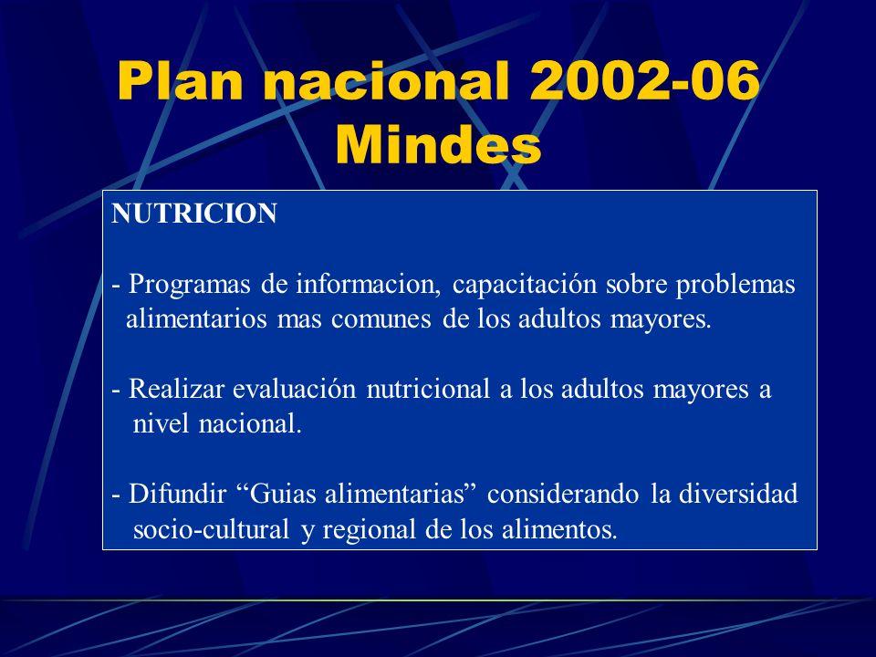 Plan nacional 2002-06 Mindes NUTRICION - Programas de informacion, capacitación sobre problemas alimentarios mas comunes de los adultos mayores.
