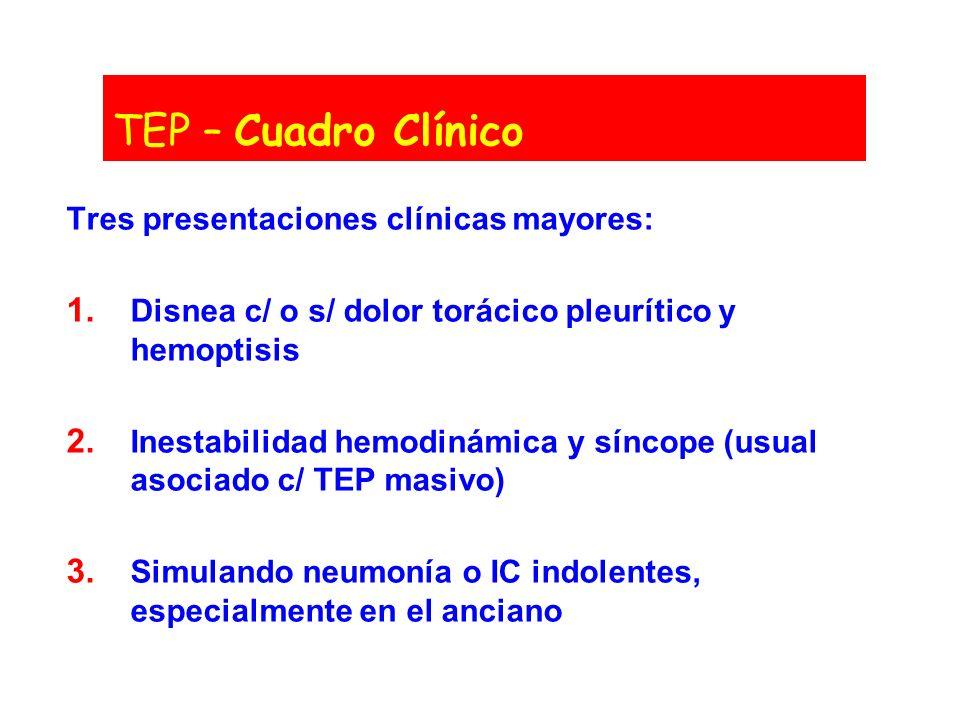 TEP – Cuadro Clínico Tres presentaciones clínicas mayores: 1. Disnea c/ o s/ dolor torácico pleurítico y hemoptisis 2. Inestabilidad hemodinámica y sí