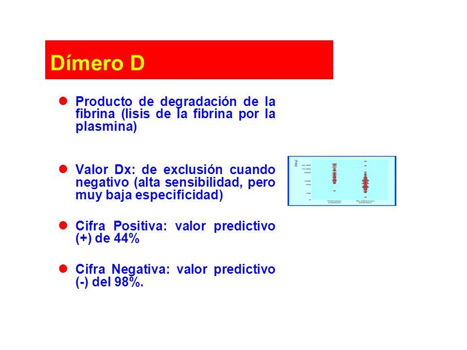 Dímero D Producto de degradación de la fibrina (lisis de la fibrina por la plasmina) Valor Dx: de exclusión cuando negativo (alta sensibilidad, pero m