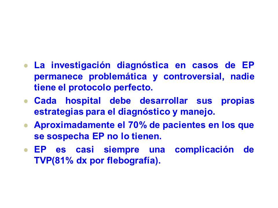La investigación diagnóstica en casos de EP permanece problemática y controversial, nadie tiene el protocolo perfecto. Cada hospital debe desarrollar