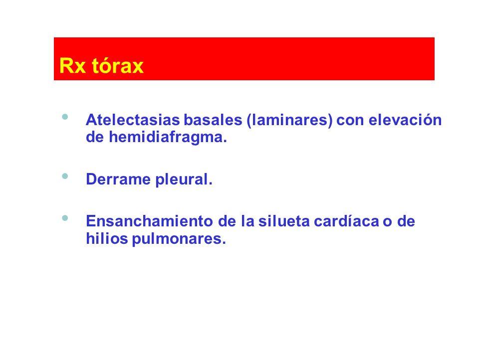 Atelectasias basales (laminares) con elevación de hemidiafragma. Derrame pleural. Ensanchamiento de la silueta cardíaca o de hilios pulmonares.