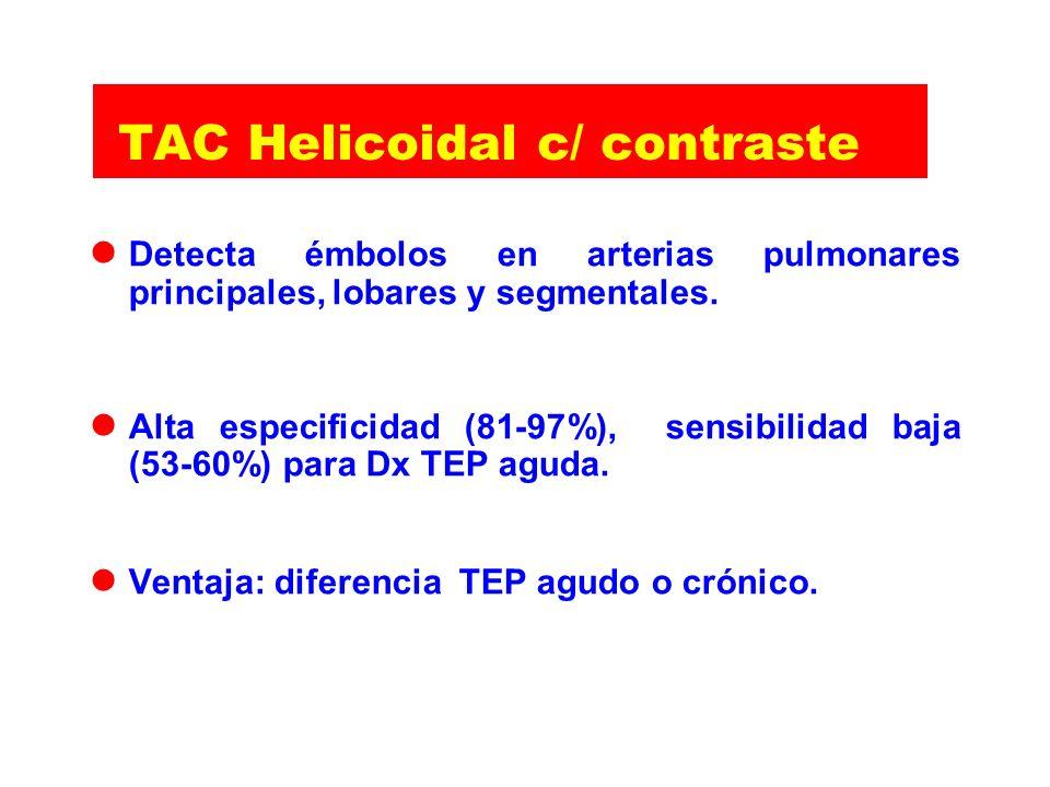 TAC Helicoidal c/ contraste Detecta émbolos en arterias pulmonares principales, lobares y segmentales. Alta especificidad (81-97%), sensibilidad baja