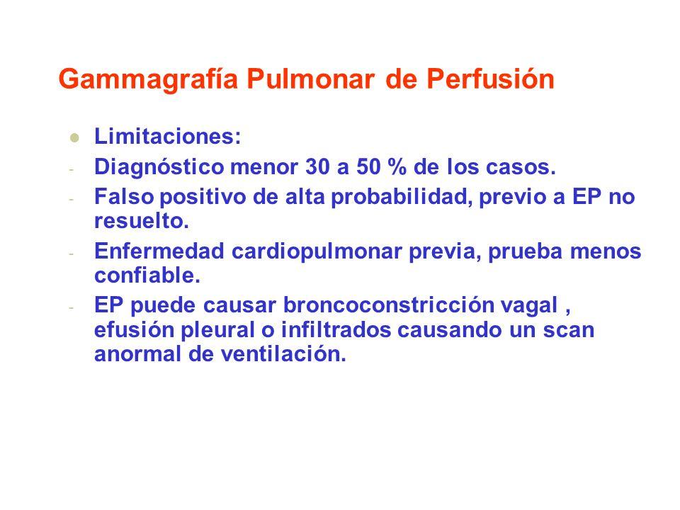 Gammagrafía Pulmonar de Perfusión Limitaciones: - Diagnóstico menor 30 a 50 % de los casos. - Falso positivo de alta probabilidad, previo a EP no resu