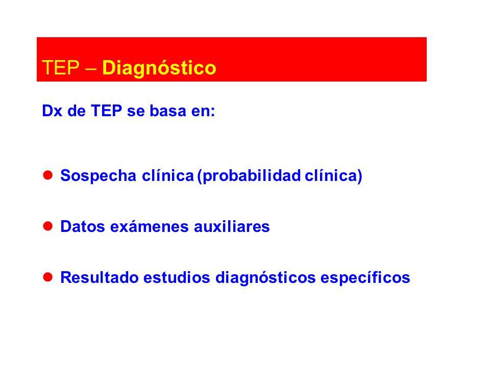 Dx de TEP se basa en: Sospecha clínica (probabilidad clínica) Datos exámenes auxiliares Resultado estudios diagnósticos específicos