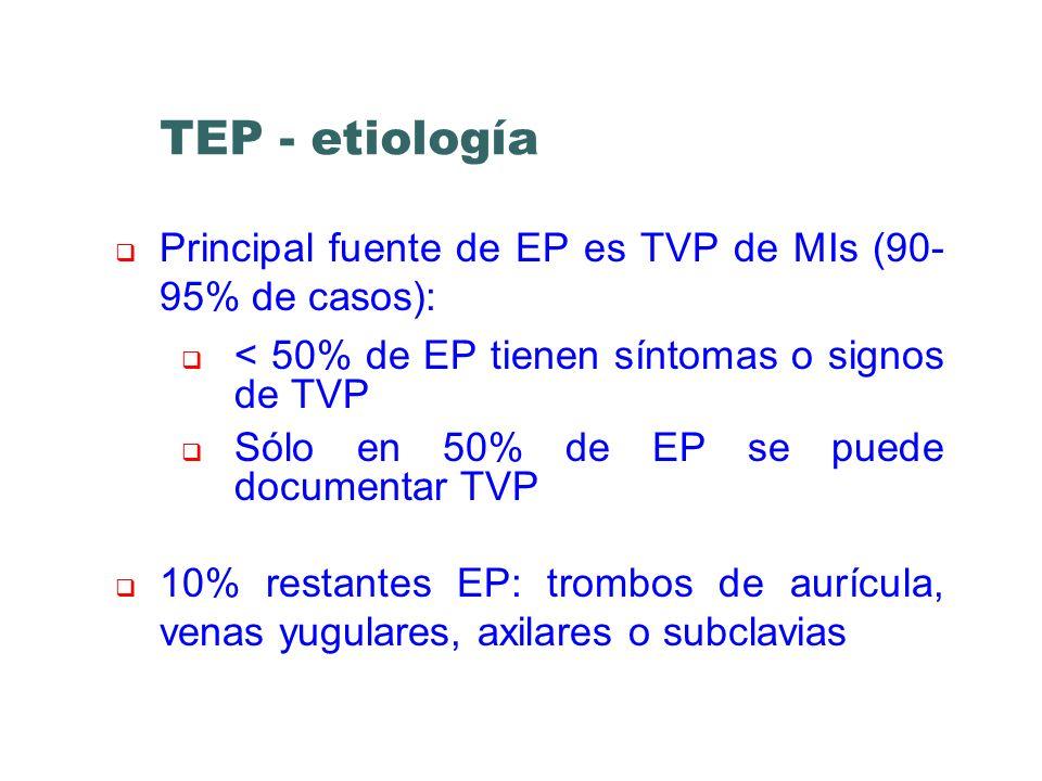 TEP - etiología Principal fuente de EP es TVP de MIs (90- 95% de casos): < 50% de EP tienen síntomas o signos de TVP Sólo en 50% de EP se puede docume