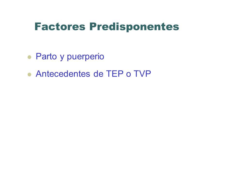 Factores Predisponentes Parto y puerperio Antecedentes de TEP o TVP