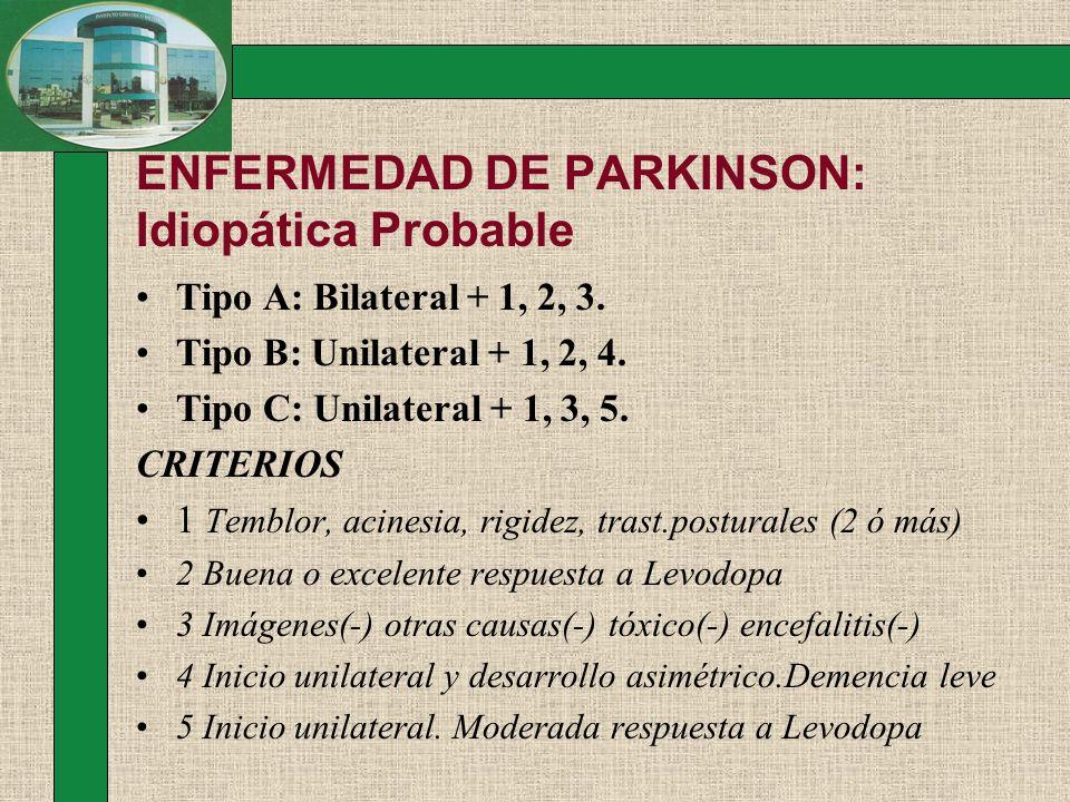 ENFERMEDAD DE PARKINSON: Idiopática Probable Tipo A: Bilateral + 1, 2, 3. Tipo B: Unilateral + 1, 2, 4. Tipo C: Unilateral + 1, 3, 5. CRITERIOS 1 Temb