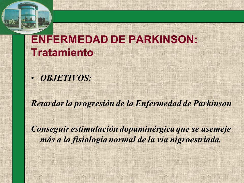 ENFERMEDAD DE PARKINSON: Tratamiento OBJETIVOS: Retardar la progresión de la Enfermedad de Parkinson Conseguir estimulación dopaminérgica que se aseme