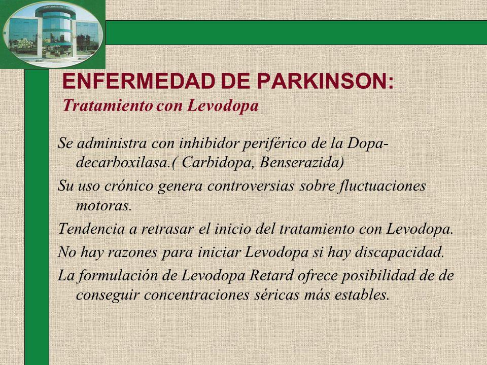 ENFERMEDAD DE PARKINSON: Tratamiento con Levodopa Se administra con inhibidor periférico de la Dopa- decarboxilasa.( Carbidopa, Benserazida) Su uso cr
