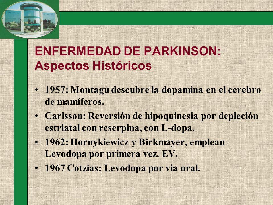 ENFERMEDAD DE PARKINSON: Aspectos Históricos 1957: Montagu descubre la dopamina en el cerebro de mamíferos. Carlsson: Reversión de hipoquinesia por de
