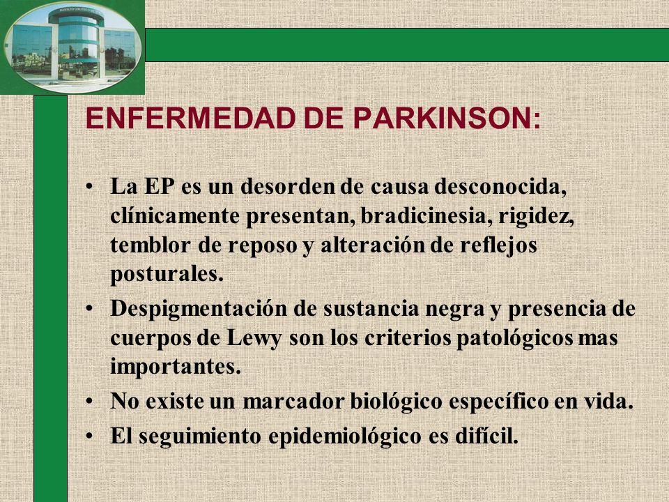 ENFERMEDAD DE PARKINSON: Retardar la progresión de la Enfermedad de Parkinson NEUROPROTECCION: Por PET se demuestra pérdida neuronal en EP de 2.5% por década, la que es máxima en los primeros 2 a 5 años del inicio de síntomas.