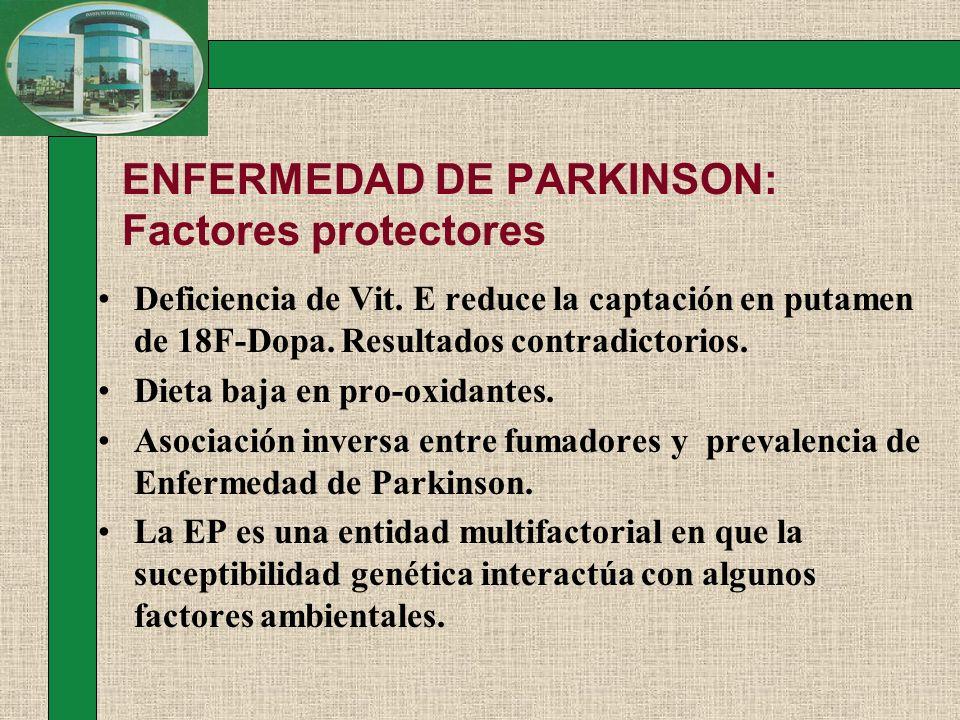 ENFERMEDAD DE PARKINSON: Factores protectores Deficiencia de Vit. E reduce la captación en putamen de 18F-Dopa. Resultados contradictorios. Dieta baja