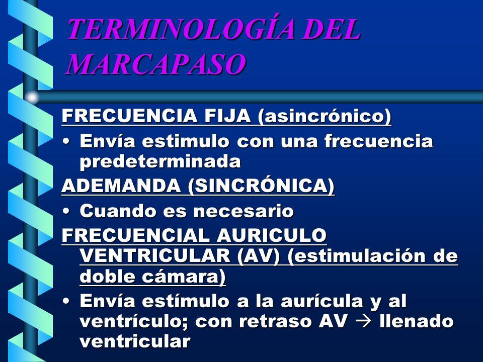 TERMINOLOGÍA DEL MARCAPASO FRECUENCIA FIJA (asincrónico) Envía estimulo con una frecuencia predeterminadaEnvía estimulo con una frecuencia predetermin