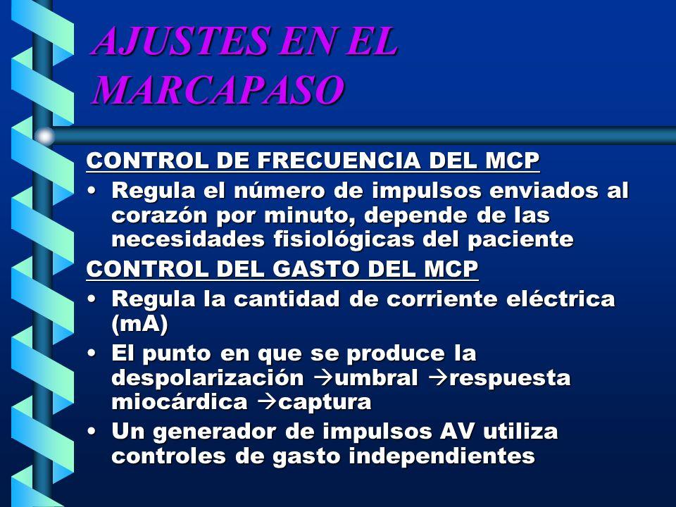 AJUSTES EN EL MARCAPASO CONTROL DE FRECUENCIA DEL MCP Regula el número de impulsos enviados al corazón por minuto, depende de las necesidades fisiológ