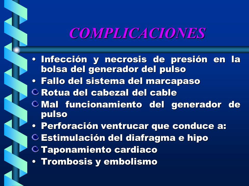 COMPLICACIONES Infección y necrosis de presión en la bolsa del generador del pulsoInfección y necrosis de presión en la bolsa del generador del pulso