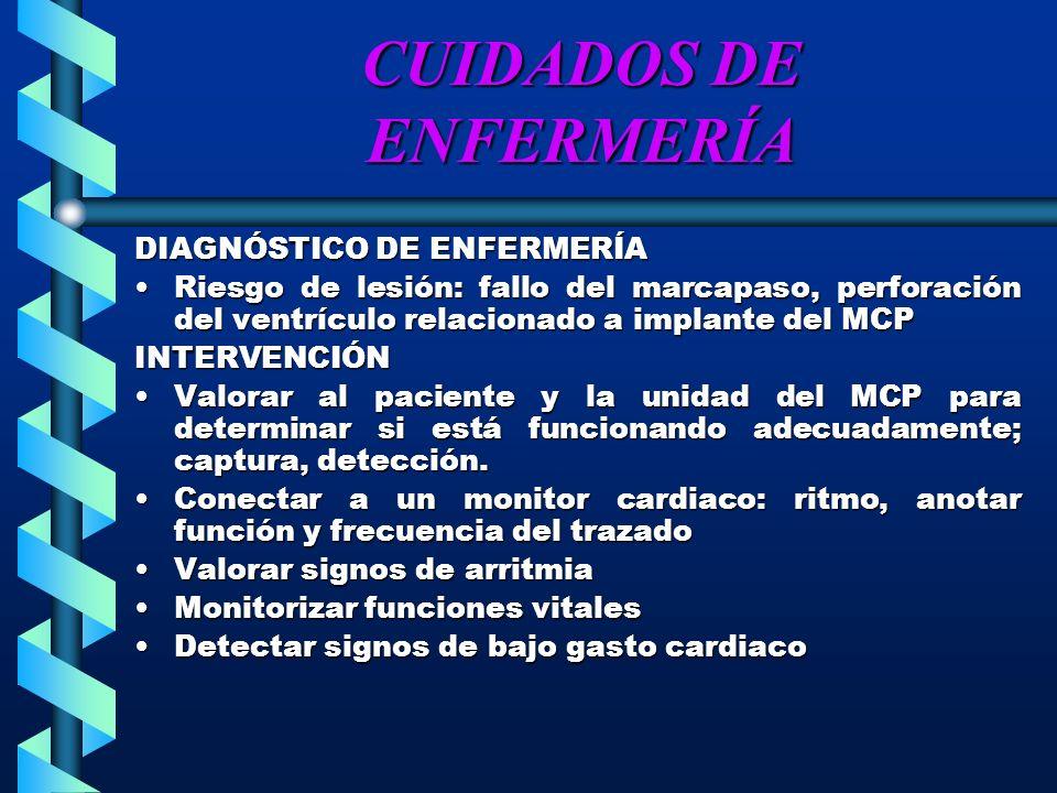CUIDADOS DE ENFERMERÍA DIAGNÓSTICO DE ENFERMERÍA Riesgo de lesión: fallo del marcapaso, perforación del ventrículo relacionado a implante del MCPRiesg