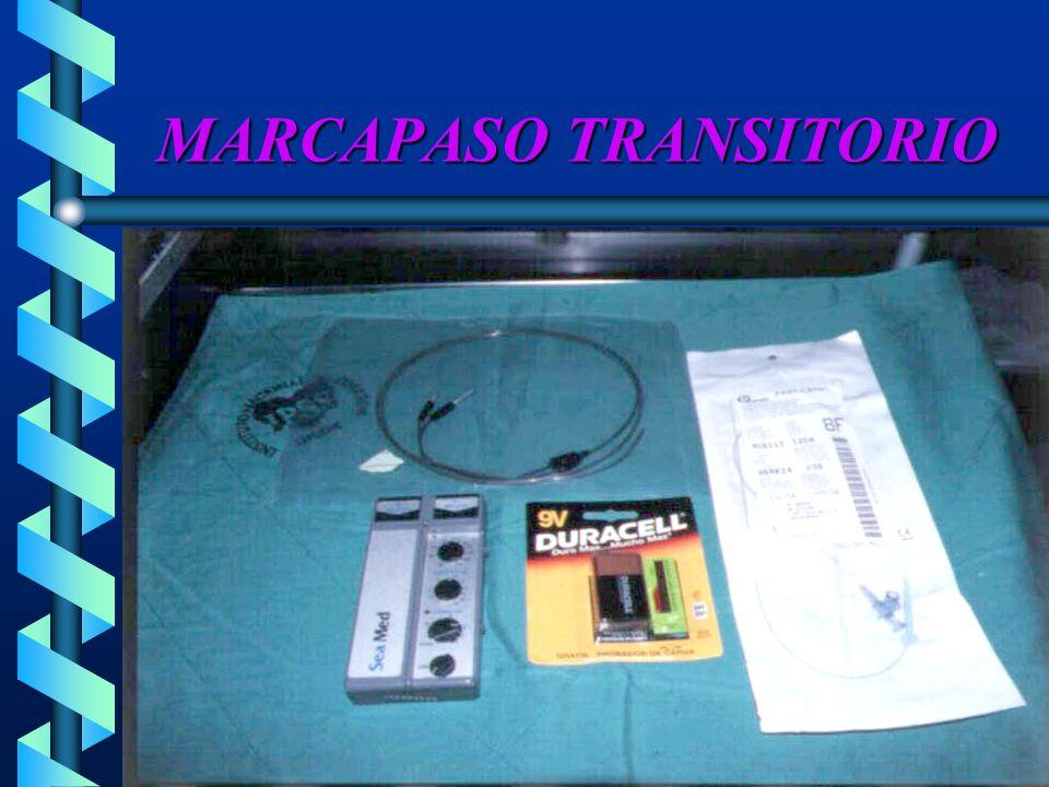 INDICACIONES del MCP TRANSITORIO BRADIARRITMIAS Bradicardia sinusal y paradaBradicardia sinusal y parada Sindrome del seno enfermoSindrome del seno enfermo Bloqueos cardiacosBloqueos cardiacos ESTUDIOS DIAGNÓSTICOS Estudio electrofisiológicoEstudio electrofisiológico Electrograma auricularElectrograma auricular TAQUIARRITMIAS Supraventriculares Ventriculares FRACASO DEL MARCAPASO PERMANENTE DESPUÉS DE CIRUGÍA CARDIACA (GC)