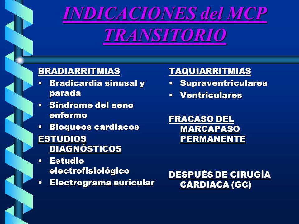 LUGARES DE COLOCACIÓN DEL MCP TRANSITORIO TRANSCUTANEO UrgenciaUrgencia Despolarización del torax con dos electrodos cutaneos de gran tamañoDespolarización del torax con dos electrodos cutaneos de gran tamaño TRANSTORÁCICATRANSTORÁCICA Se inserta un electrocateter metálico de urgencia a través de una aguja transtorácicaSe inserta un electrocateter metálico de urgencia a través de una aguja transtorácica Llega al ventrículo derechoLlega al ventrículo derecho