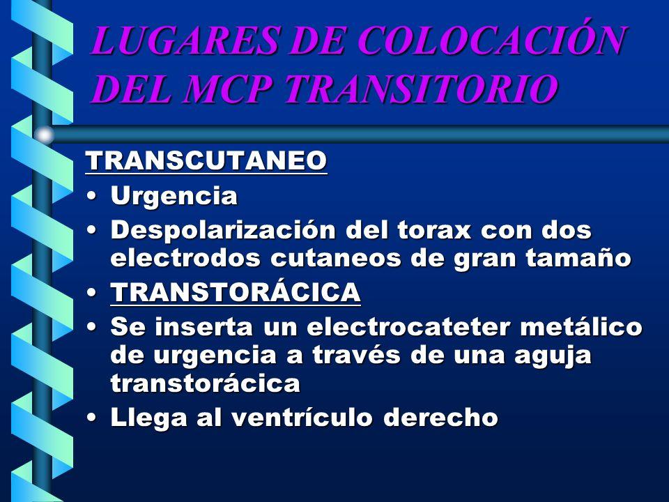 LUGARES DE COLOCACIÓN DEL MCP TRANSITORIO TRANSCUTANEO UrgenciaUrgencia Despolarización del torax con dos electrodos cutaneos de gran tamañoDespolariz