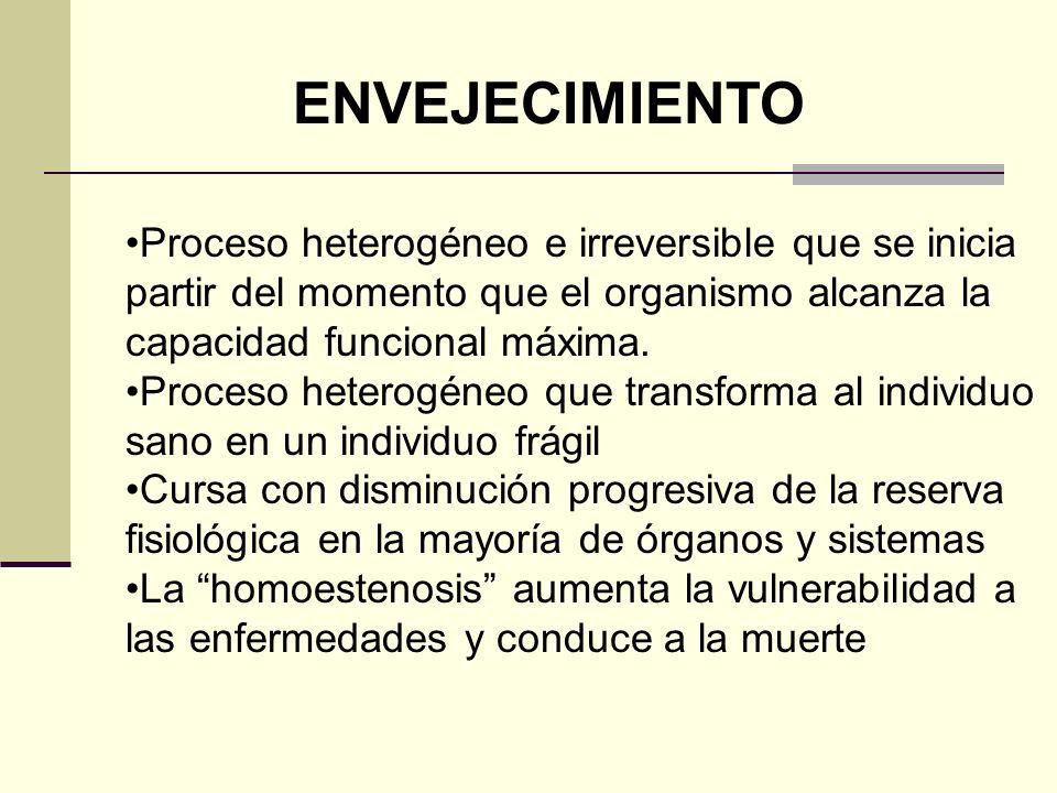 ENVEJECIMIENTO Proceso heterogéneo e irreversible que se inicia partir del momento que el organismo alcanza la capacidad funcional máxima. Proceso het