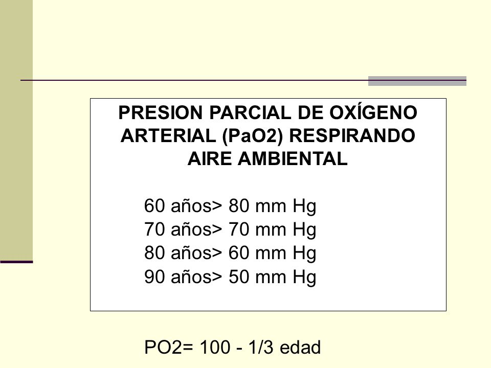 PRESION PARCIAL DE OXÍGENO ARTERIAL (PaO2) RESPIRANDO AIRE AMBIENTAL 60 años> 80 mm Hg 70 años> 70 mm Hg 80 años> 60 mm Hg 90 años> 50 mm Hg PO2= 100