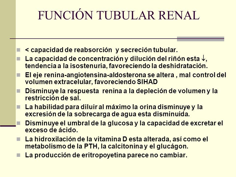 FUNCIÓN TUBULAR RENAL < capacidad de reabsorción y secreción tubular. La capacidad de concentración y dilución del riñón esta, tendencia a la isostenu