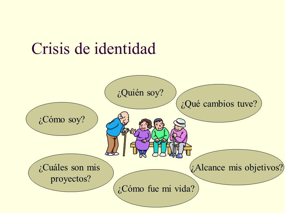 Crisis de identidad ¿Cómo soy? ¿Quién soy? ¿Qué cambios tuve? ¿Cómo fue mi vida? ¿Alcance mis objetivos? ¿Cuáles son mis proyectos?