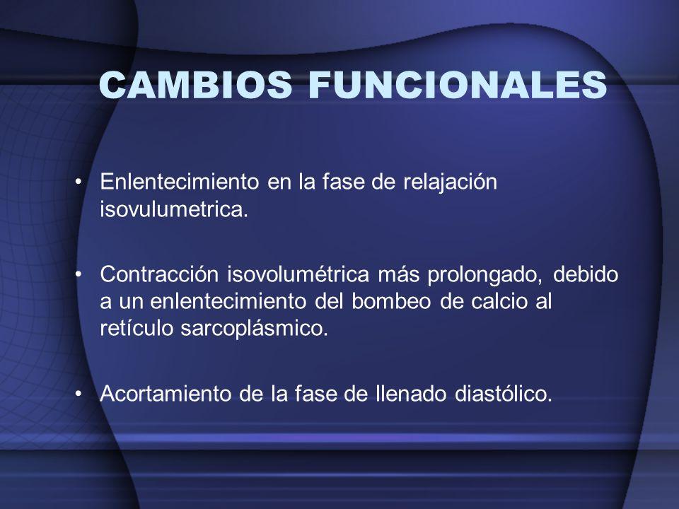 CAMBIOS FUNCIONALES Enlentecimiento en la fase de relajación isovulumetrica. Contracción isovolumétrica más prolongado, debido a un enlentecimiento de
