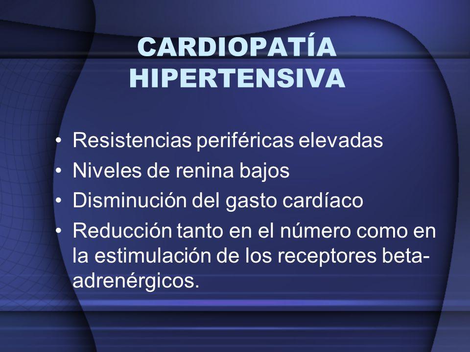 CARDIOPATÍA HIPERTENSIVA Resistencias periféricas elevadas Niveles de renina bajos Disminución del gasto cardíaco Reducción tanto en el número como en
