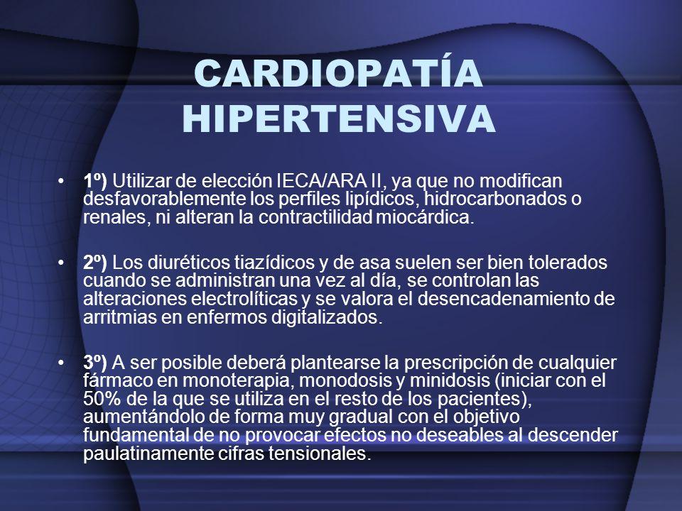 1º) Utilizar de elección IECA/ARA II, ya que no modifican desfavorablemente los perfiles lipídicos, hidrocarbonados o renales, ni alteran la contracti