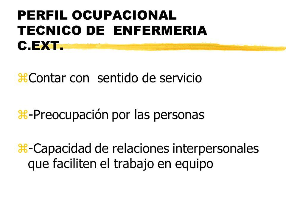 PERFIL OCUPACIONAL TECNICO DE ENFERMERIA C.EXT. zContar con sentido de servicio z-Preocupación por las personas z-Capacidad de relaciones interpersona