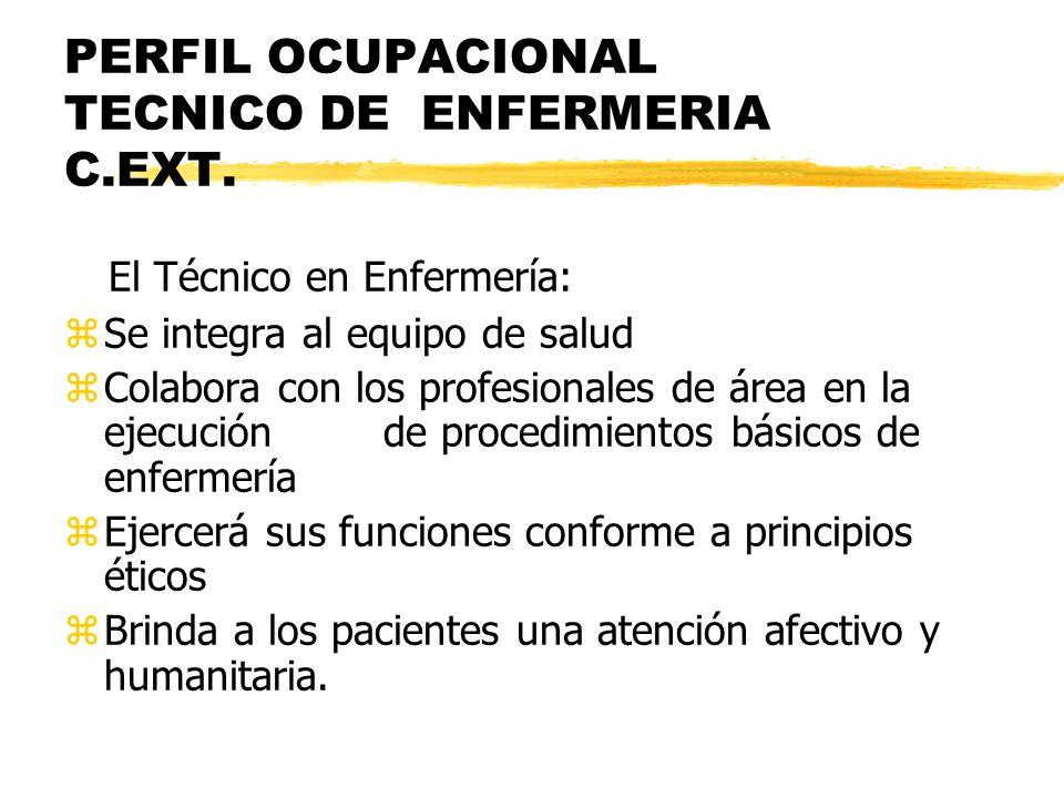 PERFIL OCUPACIONAL TECNICO DE ENFERMERIA C.EXT. El Técnico en Enfermería: zSe integra al equipo de salud zColabora con los profesionales de área en la