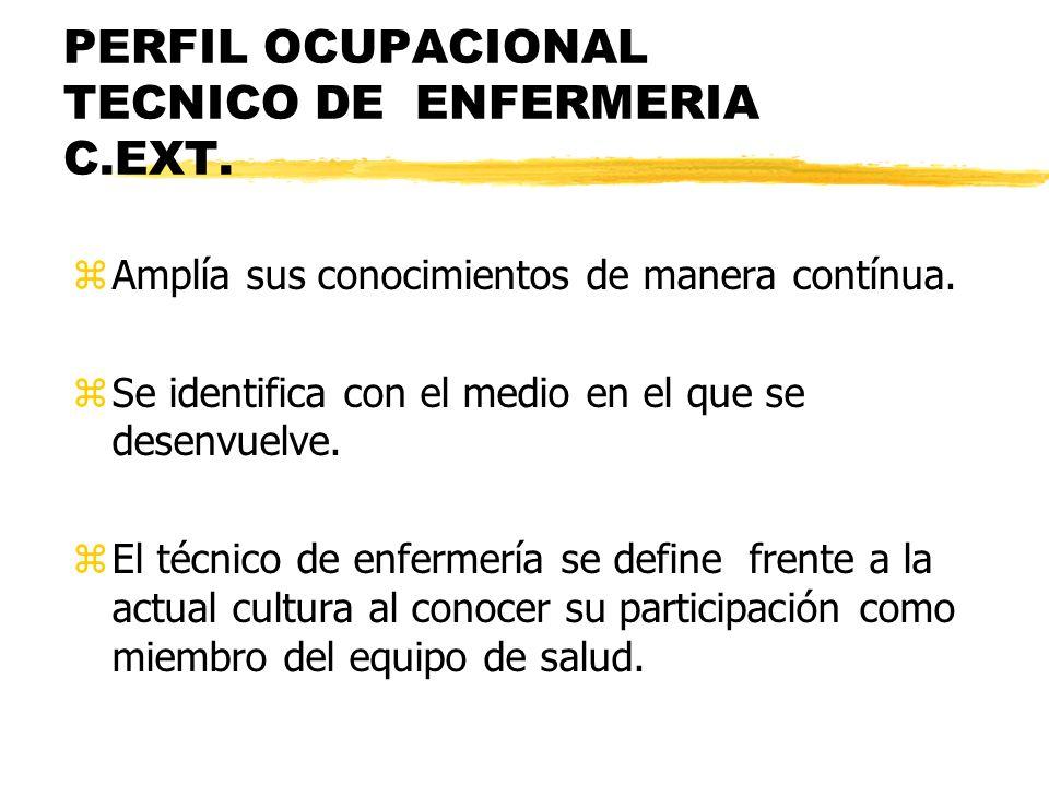PERFIL OCUPACIONAL TECNICO DE ENFERMERIA C.EXT. zAmplía sus conocimientos de manera contínua. zSe identifica con el medio en el que se desenvuelve. zE