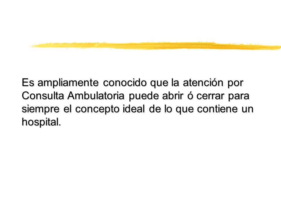 Es ampliamente conocido que la atención por Consulta Ambulatoria puede abrir ó cerrar para siempre el concepto ideal de lo que contiene un hospital.