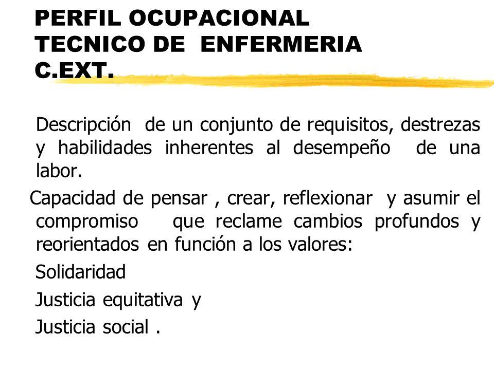 PERFIL OCUPACIONAL TECNICO DE ENFERMERIA C.EXT. Descripción de un conjunto de requisitos, destrezas y habilidades inherentes al desempeño de una labor