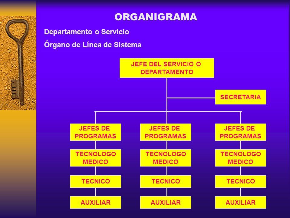 ORGANIGRAMA Departamento o Servicio Órgano de Línea de Sistema JEFE DEL SERVICIO O DEPARTAMENTO SECRETARIA JEFES DE PROGRAMAS TECNOLOGO MEDICO TECNICO