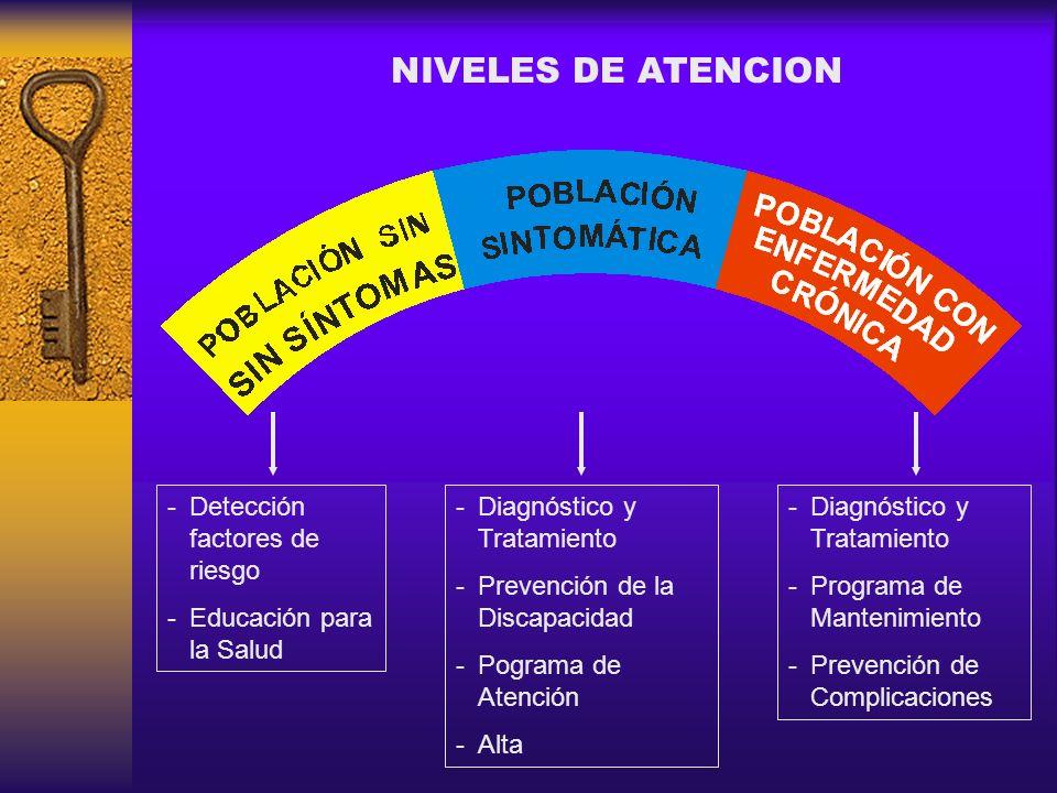 -Detección factores de riesgo -Educación para la Salud -Diagnóstico y Tratamiento -Prevención de la Discapacidad -Pograma de Atención -Alta -Diagnósti