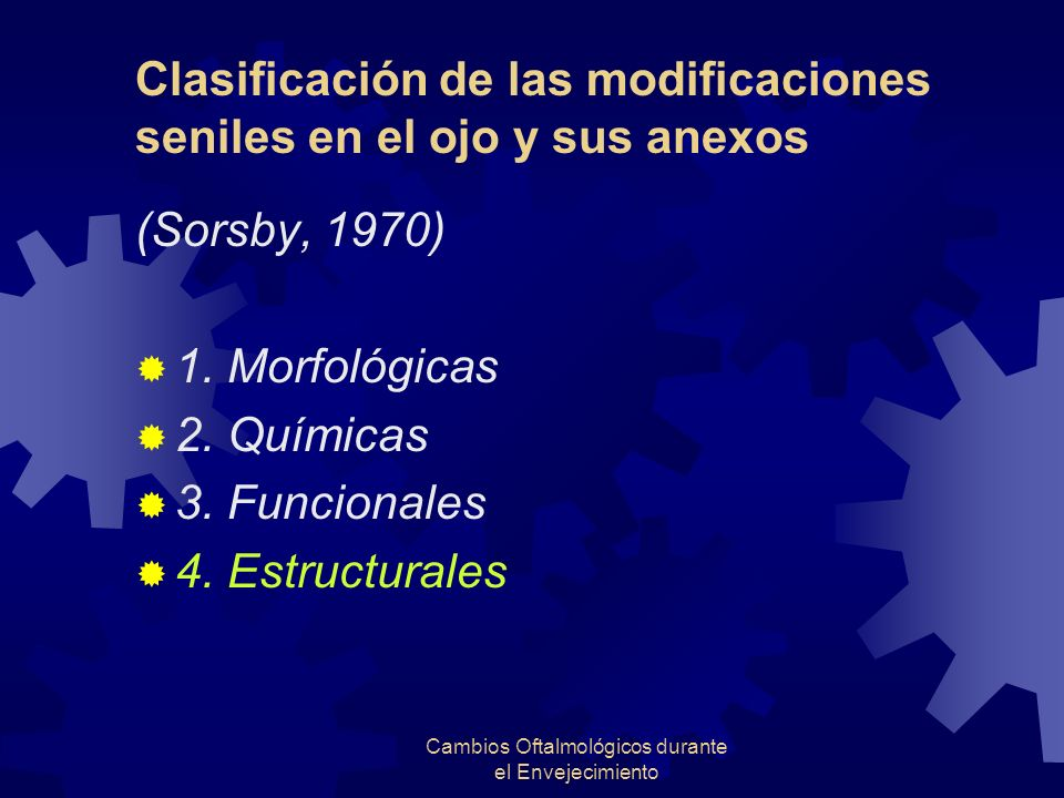 Cambios Oftalmológicos durante el Envejecimiento Clasificación de las modificaciones seniles en el ojo y sus anexos (Sorsby, 1970) 1. Morfológicas 2.