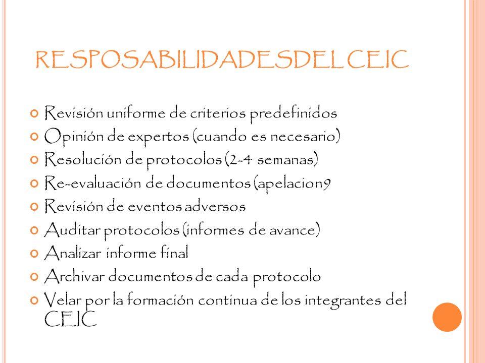 RESPOSABILIDADESDEL CEIC Revisión uniforme de criterios predefinidos Opinión de expertos (cuando es necesario) Resolución de protocolos (2-4 semanas)