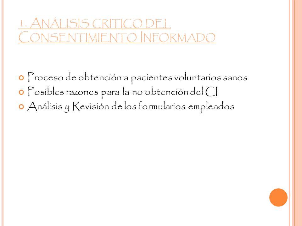 1. A NÁLISIS CRITICO DEL C ONSENTIMIENTO I NFORMADO Proceso de obtención a pacientes voluntarios sanos Posibles razones para la no obtención del CI An