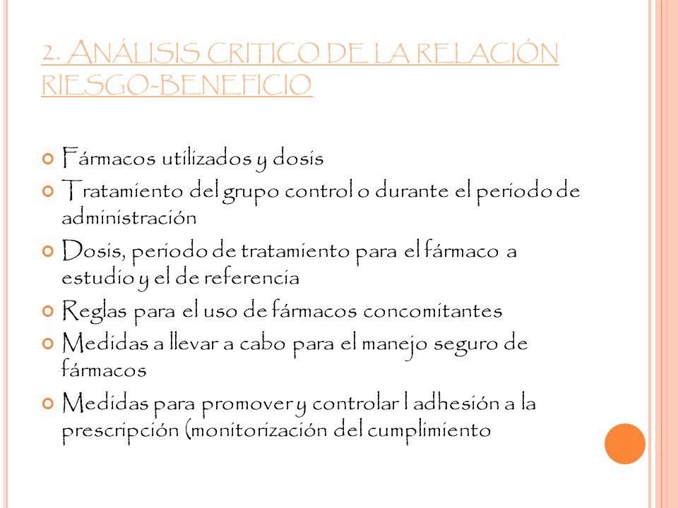 2. A NÁLISIS CRITICO DE LA RELACIÓN RIESGO - BENEFICIO Fármacos utilizados y dosis Tratamiento del grupo control o durante el periodo de administració