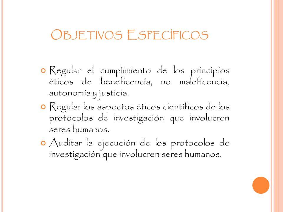 O BJETIVOS E SPECÍFICOS Regular el cumplimiento de los principios éticos de beneficencia, no maleficencia, autonomía y justicia. Regular los aspectos