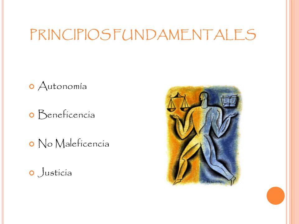 PRINCIPIOS FUNDAMENTALES Autonomía Beneficencia No Maleficencia Justicia