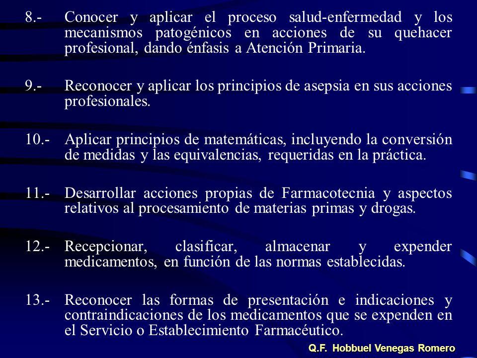 8.-Conocer y aplicar el proceso salud-enfermedad y los mecanismos patogénicos en acciones de su quehacer profesional, dando énfasis a Atención Primari